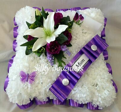 Artificial Silk Funeral Flower Cushion Wreath Memorial Tribute Personalised