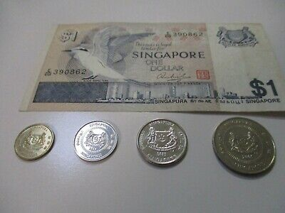 Singapore $1 Bank note & 1 of each 5c-10c-20c-50c coins
