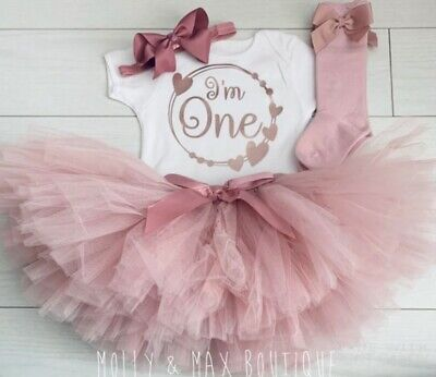Girls 1st First Birthday Cake Smash Set Outfit Tutu Personalised Dusk Rose Gold