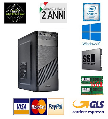 Computer Desktop Pc Fisso Intel Core I7 - 16 Gb Ram - Ssd 240 - Windows 10 Pro