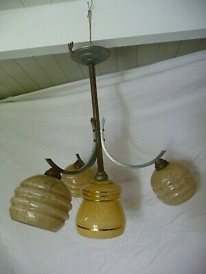 Antique Art Deco Period 4 Light Chandelier Lighting Pendent And Shades Project