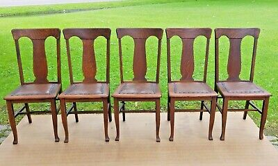 SET OF FIVE Antique Quarter Sawn Tiger Oak T Back Style Chairs w original finish