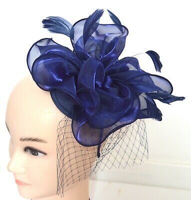 New Large Navy Blue chiffon fabric aliceband fascinator wedding races ascot