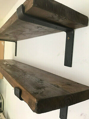 Shelf-Scaffold Board Rustic Shelves Industrial Solid Wood+2 steel Brackets.