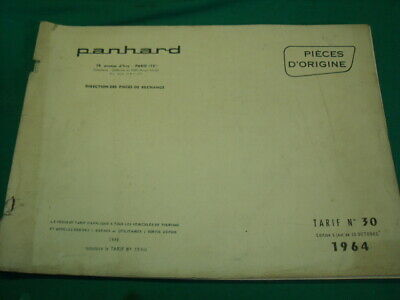 Panhard Dyna Pl17 Brochure 30 References Tarifs Des Pieces Detachees 1964