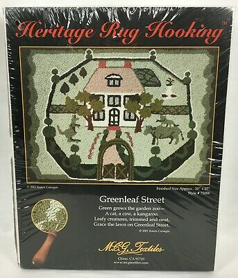 Heritage Rug Hooking Kit 73006 Greenleaf Street Sealed NOS 20 x 27 Karen Cunagin