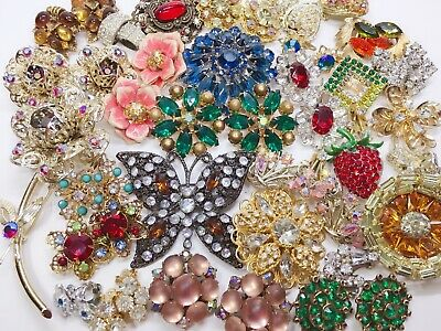 Vintage Costume Jewelry Lot Rhinestone Earrings Brooch Coro Monet Sarah Cov