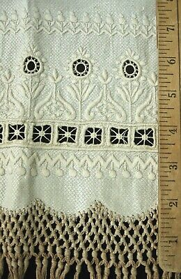 """UNUSED antique linen towel 44x22""""+8"""" knotted fringe 6"""" bands embroidery+cutwork"""