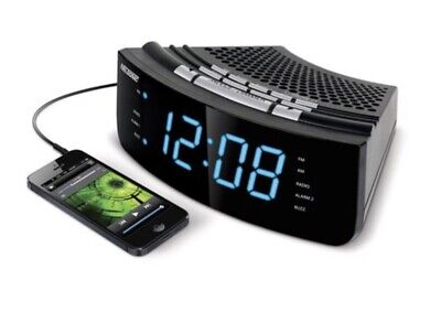 NELSONIC AM/FM Dual Alarm Clock Radio, Large BLUE LED Display, Built-In Aux Cord
