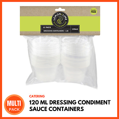MINI DRESSING CONDIMENT SAUCE CONTAINERS 120 ML Takeaway Take Away Containers