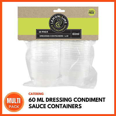 MINI DRESSING CONDIMENT SAUCE CONTAINERS 60ML Takeaway Take Away Containers BULK