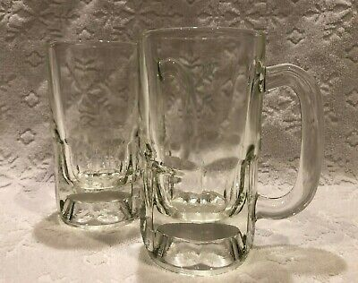 Vintage Dominion Glass; 2 MATCHING Large Crystal-Clear-Glass Paneled Tankards