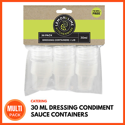 MINI DRESSING CONDIMENT SAUCE CONTAINERS 30ML Takeaway Take Away Containers BULK