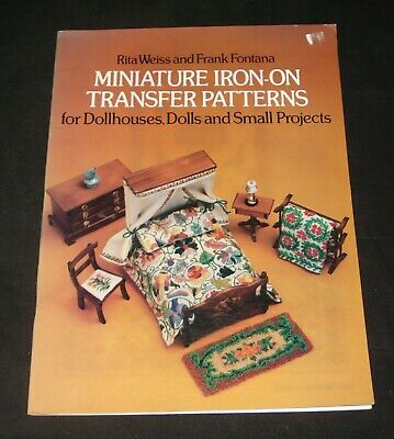 MINIATURE IRON ON TRANSFER PATTERNS EMBROIDERY OF DOLLHOUSES DOLL'S CLOTHES etc