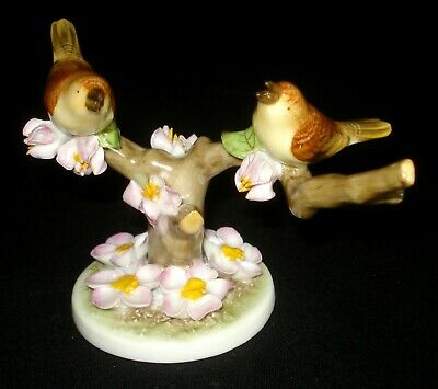 Herend Hungary Pair Of Birds On Branch Hand Painted Porcelain Figurine 5128