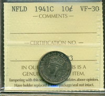 Canada Newfoundland NFLD 1941C 10 Cents Silver Graded ICCS VF-30