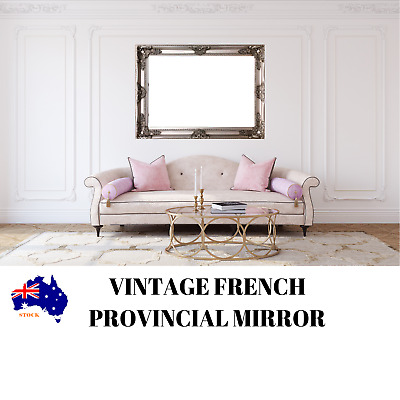 SILVER FRAME VINTAGE FRENCH PROVINCIAL Style Ornate Bevelled Wall Mirror