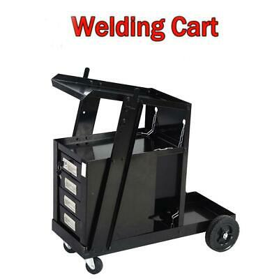 Protable Welding Cart for MIG TIG Flux Welder Heavy Duty Swivel Wheels Black
