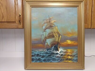 Listed Amerian artist Preston Willis ship oil painting