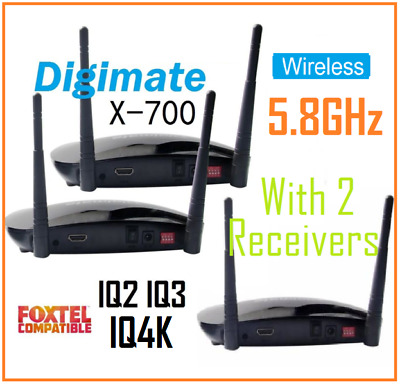 Digimate Wireless 5.8GHz HDMI AV Sender / 2 Receiver Kit For Foxtel IQ2 IQ3 IQ4K
