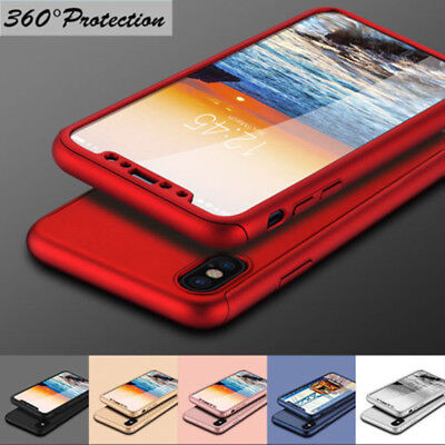 For iPhone XS XR XS MAX X 8 7 6 6s Plus 360° Full Case Cover + Tempered Glass