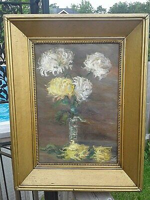 18th-19th century antique oil still life flowers framed painting