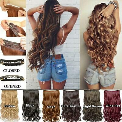 New Real Long Clip in Hair Extensions One Piece Half Full Head Straight Curly