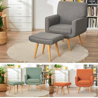 Modern Lounge  Accent Fabric Tub Chair Yves Armchair with Stool Sage Sofa Chair