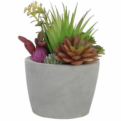 MyGift 8-Inch Faux Assorted Succulents in Gray Concrete Pot