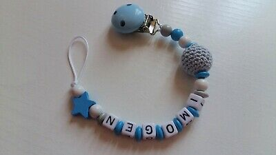 Any Name**Blue Personalised Dummy Clip/Chain for Boys/Star