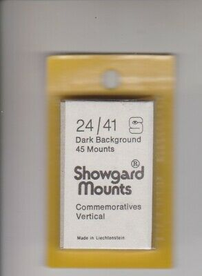 SHOWGARD Black Stamp Mount Cut to Size 24mm x 41mm FULL PACK 45 MOUNTS