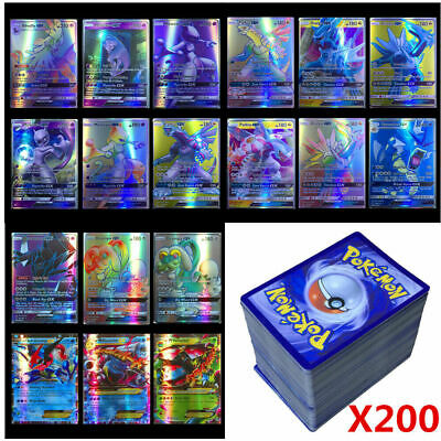 200 Pcs Pokemon 195 GX + 5 MEGA Cartas Holo Flash Art Trading Cards Kids Gifts