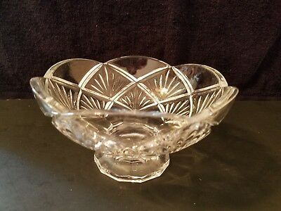 Vintage Crystal Cut Glass Footed Candy Dish