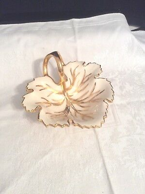 Vintage Leaf Shaped Candy Mint Dish White Gold Porcelain Hand Painted by Nora