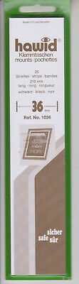 Hawid Black Stamp Mount Strips 36mm x 210mm Full pack of 25 Mounts
