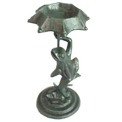 Cast Iron Frog with Umbrella Bird Seed Feeder Green Rustic Garden Ornament