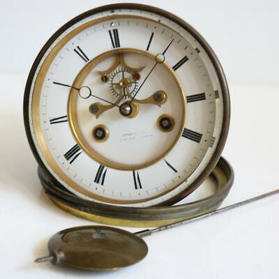 LARGE ANTIQUE FRENCH BELL STRIKE CLOCK MOVEMENT by S.MARTI visible escapement