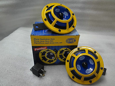 HELLA  SUPERTONE  PANTHER YELLOW DUAL HORN UNIVERSAL  FIT TO ALL CAR /& BIKE,TRUK