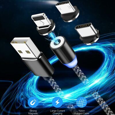 Magnetic LED Type C Micro USB Cable Charging Charger Cable For Samsung Huawei LG