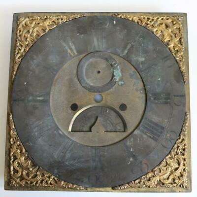 18thC 8 DAY BRASS LONGCASE CLOCK DIAL by JOHN STOKES St IVES - SECONDS & DATE
