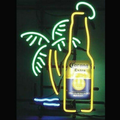 """New Corona Extra Bottle Palm Tree Neon Light Sign 17""""x14"""" Beer Lamp Real Glass"""