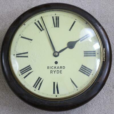 ENGLISH FUSEE DIAL CLOCK convex glass, oak case VINTAGE working SOME RESTORE