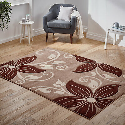 Modern Beige Brown Floral Rug New Carved Flower Thick Pile Rugs at Low Cost