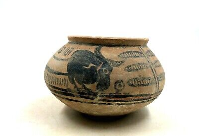 Superb Indus Valley Ca.2200 Ad Terracotta Cup Depicting Zebu Bull  R62