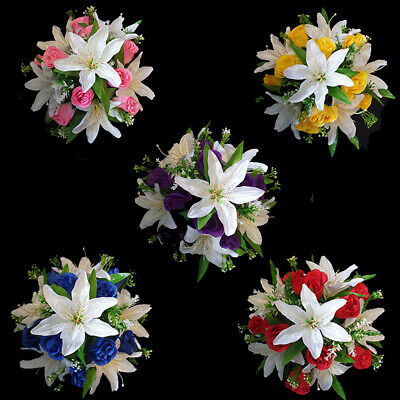 Roses/Lilies Arrangement | Artificial Flower Pot | Grave/Memorial | Hand Made