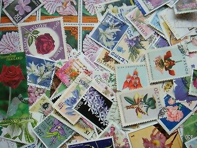 50 BOTANICAL Stamps All Different Thematic World Mixed CTO's/Genuine Postage