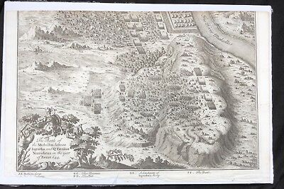 1730 DISPLAYABLE Copper Plate MAP ENGRAVING Roman Empire BATTLE OF MUTHUL Africa