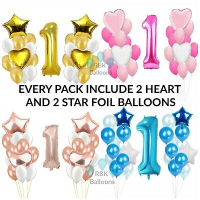 "30"" 1st Birthday Party Foil Balloons First Number 1 Baby Boy Girl Rose Gold balo"