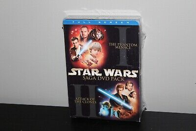 Star Wars Episodes I & II 2-Pack Saga DVD Pack 2002 4-Disc Set Full Screen New
