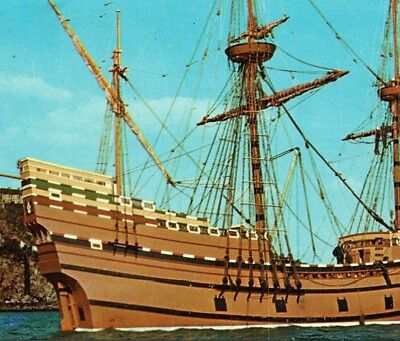 Mayflower II 2 Replica gift from the UK to USA Plymouth Vintage Postcard